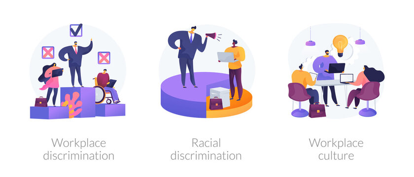 Workplace culture abstract concept vector illustration set. Workplace and racial discrimination, equal employment opportunity, shared values, sexual harassment, prejudice and bias abstract metaphor.