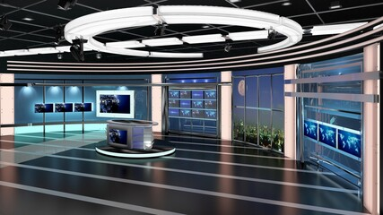 Virtual TV Studio News Set 27-4. 3d Rendering. Virtual set studio for chroma footage. wherever you want it, With a simple setup, a few square feet of space, and Virtual Set, you can transform any loca