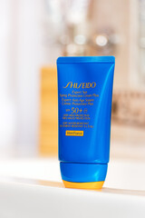 A Shiseido Expert sun protection cream on a tube, protection factor 50.