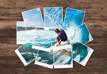 Instant Film Photos Collage Mockup