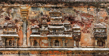 Sri Lanka travel and landmarks - Polonnaruwa, UNESCO World Heritage Site. carved wall of ancient city
