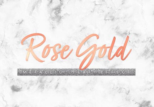 Metallic Rose Gold Text Effect Mockup