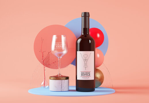 Red Wine Bottle with a Crystal Glass in Surreal Set Mockup