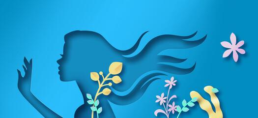 Diseño hiper realista de papel cortado. Mujer joven en un dia de verano.