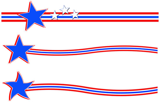 Set of stars and stripes of the United States flag