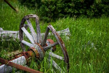 Broken-Down Wooden Wagon Wheel