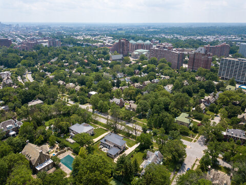 Aerial view of the Guilford and Tuscany-Canterbury neighborhoods in Baltimore, Maryland