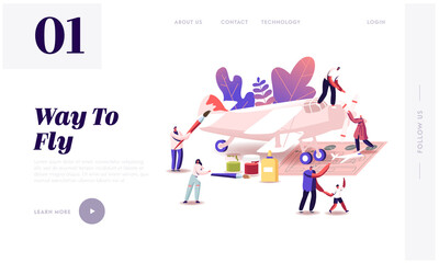 Aircraft Modeling Landing Page Template. Tiny Characters Assembling and Painting Huge Airplane Model, Put Propeller Using Scheme, Father and Son Creative Hobby. Cartoon People Vector Illustration