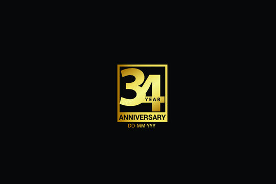 34 years anniversary celebration logotype. anniversary logo with golden and Spark light white color isolated on black background, vector design for celebration, invitation and greeting card-Vector
