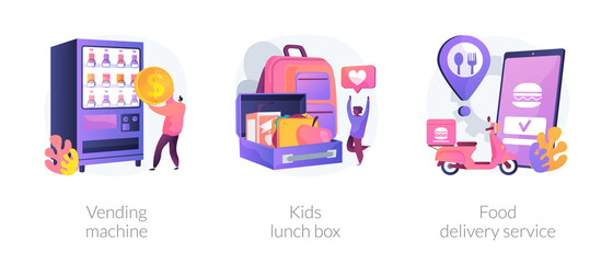 Take away lunch and snack abstract concept vector illustration set. Vending machine, kids lunch box, food delivery service, healthy snack, online menu, nutrition, takeaway coffee abstract metaphor.