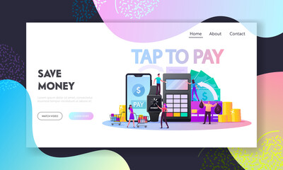 Characters Use Contactless Payment Landing Page Template. Buyers Hold Credit Cards for Paying with Smartphone or Smart Watch. People with Pos Terminal for Cashless Paying. Cartoon Vector Illustration
