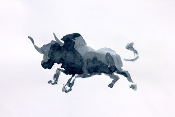Bull watercolor isolated illustration, traditional style painting