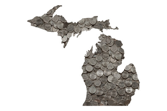 Michigan State Map Outline and Piles of Nickels, Money Concept