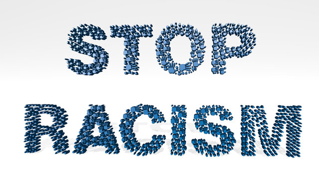 STOP RACISM SIGN made by 3D illustration of a shiny metallic sculpture on a wall with light background. business and flat