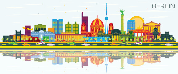 Fototapeta Berlin Germany City Skyline with Color Buildings, Blue Sky and Reflections.