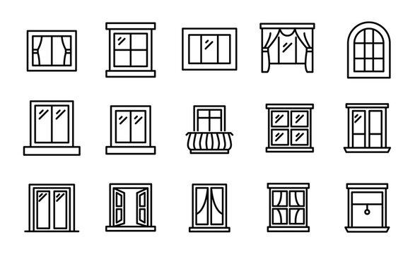 Big set of window line icons.