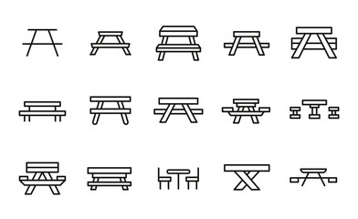 Simple set of picnic table icons in trendy line style.