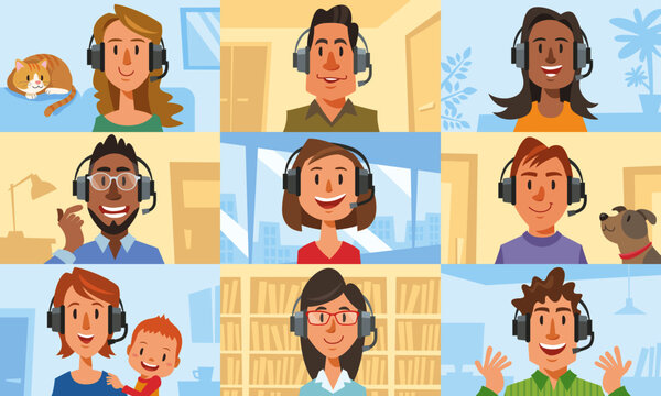 Diverse people talking by internet. Concept of online meeting, virtual meeting, video conference, web chatting, remote work, work from home. Vector illustration in flat cartoon style.