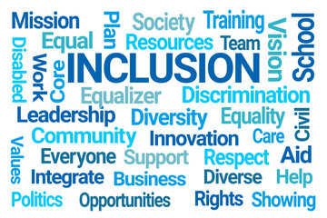 Inclusion Word Cloud on White Background