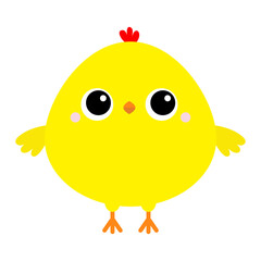 Chicken bird icon. Happy Easter. Cute cartoon funny kawaii baby chick character. Kids tshirt note book cloth print. Greeting card. Yellow color. Flat design. White background.