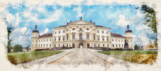 OLOMOUC, CZECH REPUBLIC. View of a military hospital situated in the former Hradisko monastery. Watercolor style illustration Fotomurales