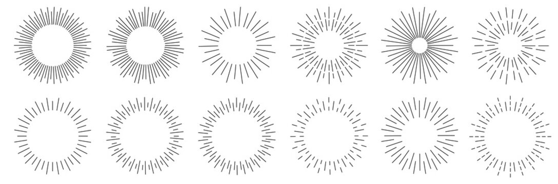 Sunburst set. Sunburst icon collection vector.Retro sunburst design.Big collection sunburst best quality. Vector illustration.