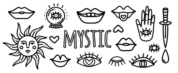 Vector set of doodle stickers for tattoos with mystical eyes, dagger, lips, hipster and ezeteric symbols. Tattoo and line art pictures with mystical objects eyes, lips, sun, palm with an eye