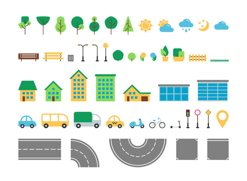 Flat simple city urban elements vector set. Park and street outdoor decor constructor collection. Tree, weather, road, house, transport, street sign isolated for web icons, mobile app, infographics