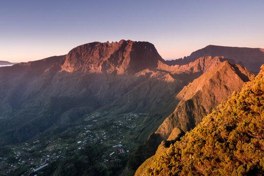 Sunrise on Roche Ecrite in Reunion Island
