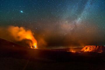 Volcanic eruption on Piton de la Fournaise