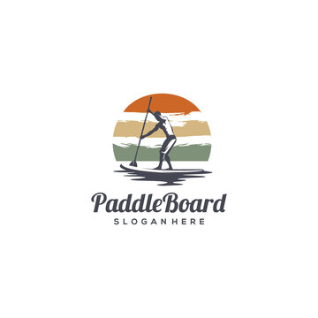 vintage paddle board silhouette logo