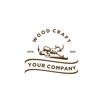 wood craft vintage logo vector