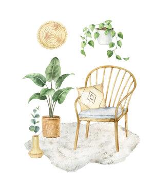 Watercolor vector aesthetic room decor. Boho cozy home clipart.