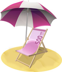 Chaise longue billet de banque de 500 euros sur la plage (détouré)