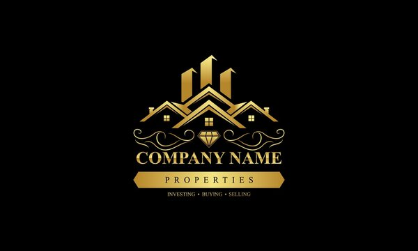 Luxury real estate logo collection with golden details