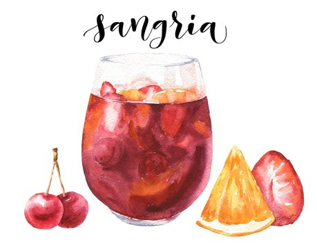 Watercolor sangria Spanish cocktail isolated on white background. Hand drawn drink illustration.