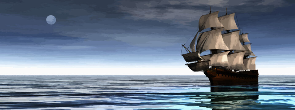 Beautiful old merchant ship floating on quiet water by day with moon