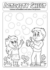 Foto op Canvas Voor kinderen Activity sheet children with bubble kit