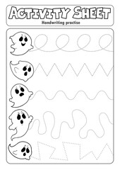 Foto op Canvas Voor kinderen Activity sheet handwriting practise topic 5