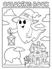 Photo sur Aluminium Enfants Coloring book ghost theme 7