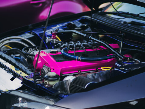 under the hood space of a sports turbocharged car