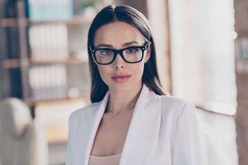 Closeup photo of attractive beautiful business lady eyesight health care concept look clever smart eyes camera home spacious office social distance formalwear blazer white suit indoors