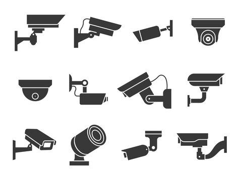 Cctv icons. Security camera, guard equipment video surveillance, private and industry observe warning crime, digital safety vector signs