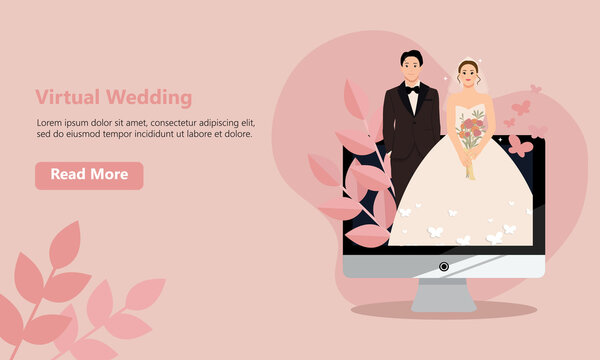 Website mockup design. Bride and groom virtual wedding on computer screen. Flat style illustration.