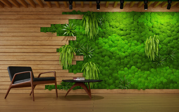 The interior of living room with wood planks and scandinavian moss wall, 3d rendering