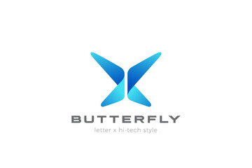 Wall Mural - Butterfly Logo abstract geometric design vector template. Letter X Logotype icon Digital Technology style.