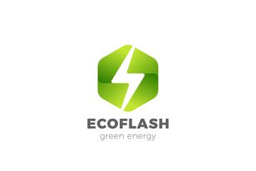 Wall Mural - Flash Bolt Green Energy Logo Power design vector template Negative space style. Hexagon Thunderbolt icon.