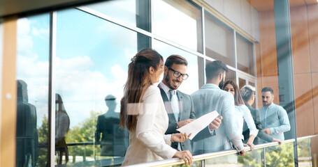 Business people talking nad brainstorming in break outdoor
