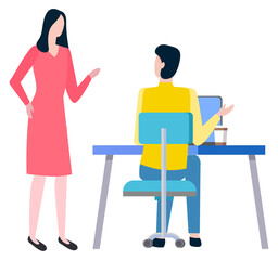 Man sitting at work place and woman broker, cooperation and teamwork. Vector cartoon style people business trainers and supervisors. Tutor consultant