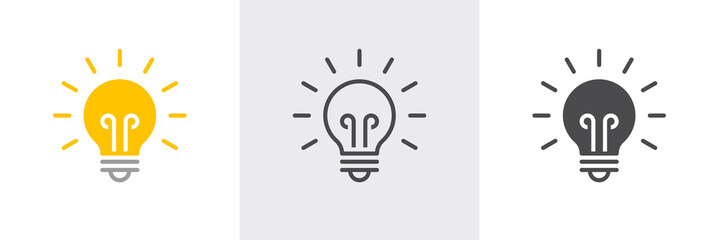 Light bulb icon. Line, solid and filled outline colorful version, outline and filled vector sign. Idea Symbol, logo illustration. Different style icons set. Vector graphics - fototapety na wymiar